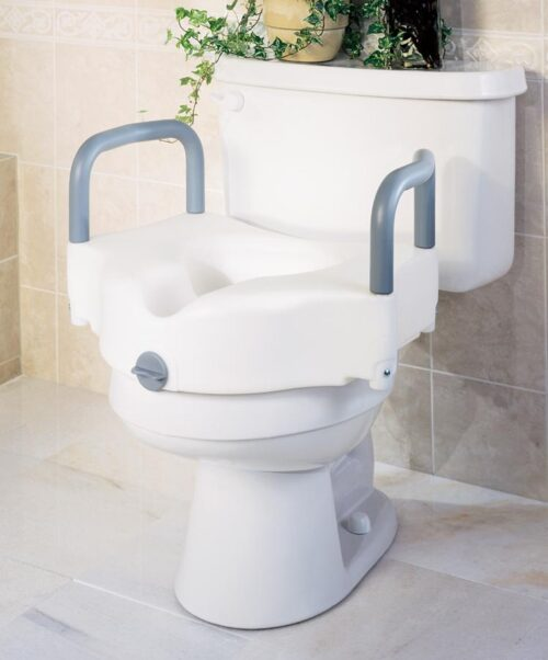 front locking raised toilet seat with arm rests