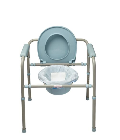 plastic liner with absorbent pad for bed side commodes