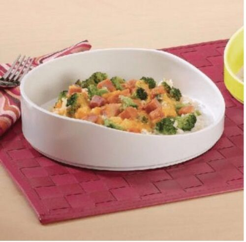 increase meal time independence with this high rimmed dish