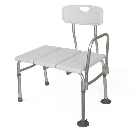 adjustable shower and tub bench with suction cup feet and a safety bar