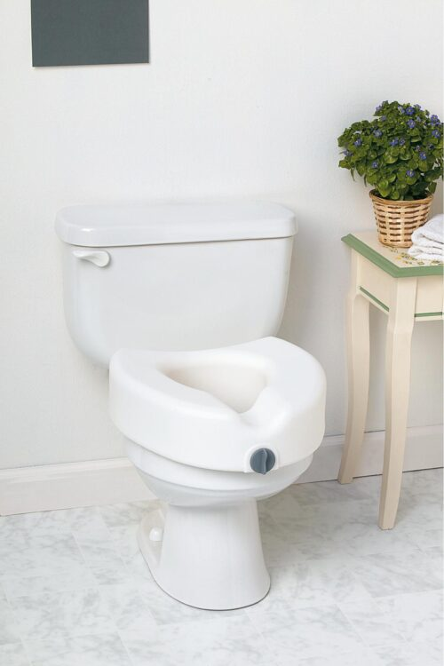 secured toilet seat with front locki