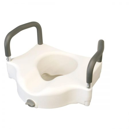 secured raised toilet seat with arm rests