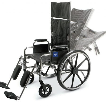 wheelchair with full neck and head support that reclines