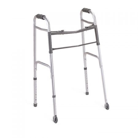 Basic Folding Walker holds up to 300 pounds and closes by pushing buttons