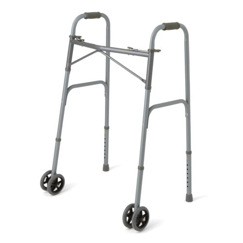 Foldable walker with two front wheels for obese people