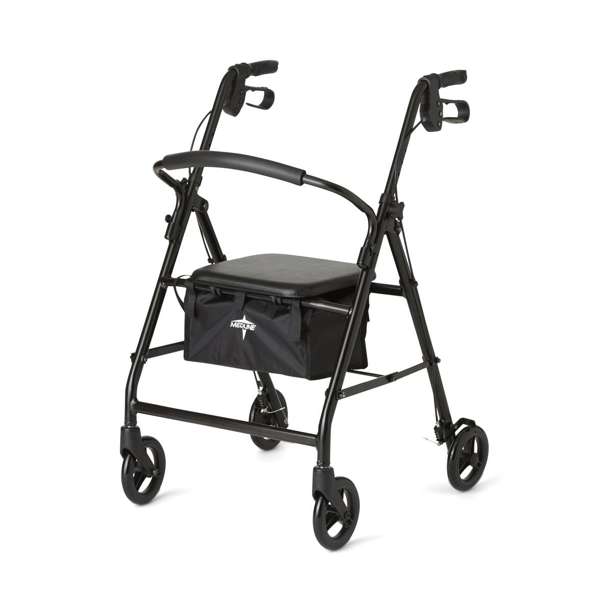 lightweight, foldable rolling walker with hand brakes and seat for obese people