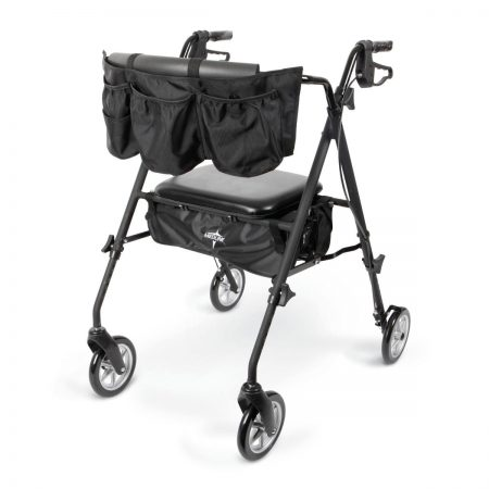 Rolling walkers with a flashlight, utility belt, cup holder and rearview mirror with seat and hand brakes