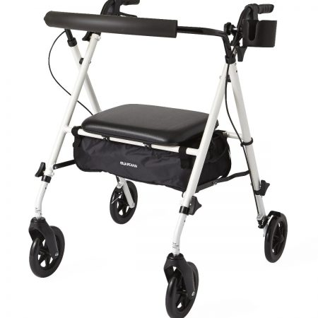 Extra wide rolling walker with hand brakes, a seat and cup holder for obese people
