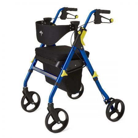 rolling walker and resting seat with hand brakes a seat and padded back rest