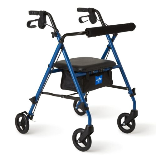 adjustable rolling walker with hand brakes and seat
