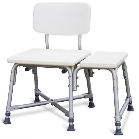 Shower bench for easy transfer from wheelchair for obese people