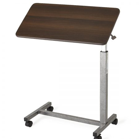 Tilt able over bed table top with wheeled base