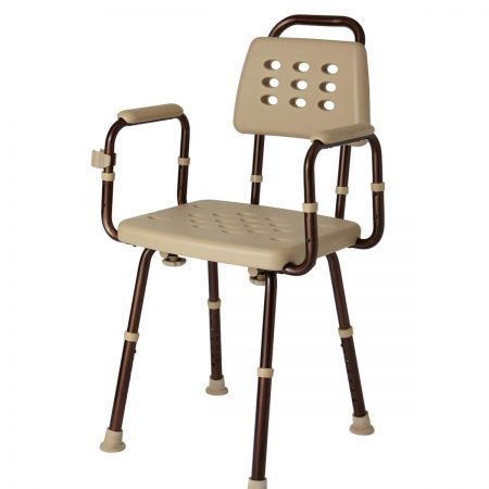 shower chair with back and arm rests with germ resistant covering